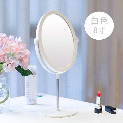xyExquisite 8 Zoll doppelseitige Flache Schminkspiegel Desktop Oval kleine tragbare Dressing rosa Prinzessin Spiegel Personalisieren Spiegel Kosmetikspiegel von Schönheit & Gesundheit weiß
