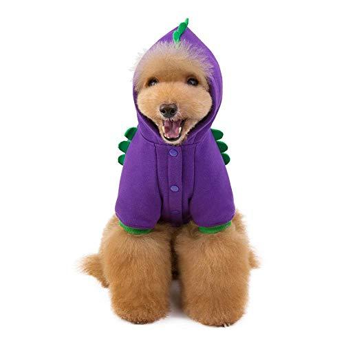 Kostüm Hunde Kobold - hifuture Halloween Haustier Kostüm Hundekleidung Katzenbekleidung Lila Kobold Shirts für Hunde Katzen Haustier Warm Hunde Kleid Kariertes Welpen-Kostüm Herbst und Winter Stil, Baumwollsamt
