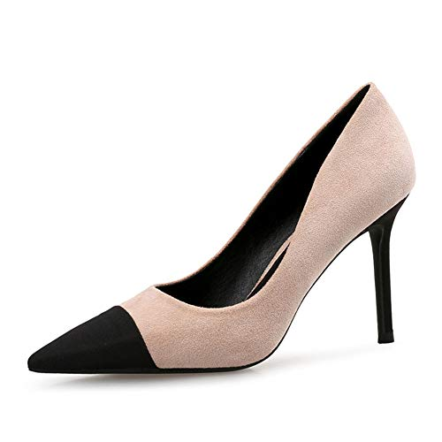 Suede Stiletto Heel (Women es High Heels, 2019 Spring Women ' S Shoes Color Nude Gray Suede Pointed Stiletto High Heel Shallow Mouth Fashion Sexy Shoes,b,36)