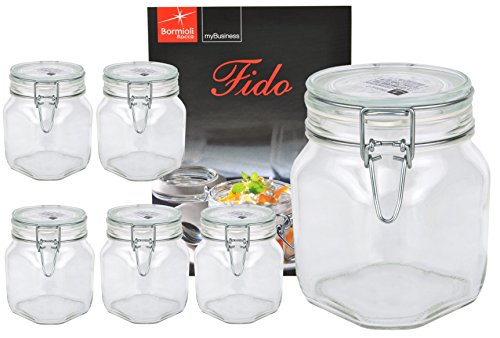 6er Set Einmachglas Bügelverschluss Original Fido 0,75L incl. Bormioli Rezeptheft