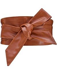 Cityelf Femme Ceinture en Cuir PU Souple Large Cravate pour Robe Boho  Taille Haut Accessoires Taille 7e99f441222
