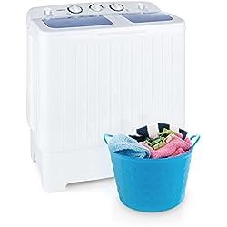 oneConcept Ecowash XL Lavatrice da campeggio camper case studenti con centrifuga (capacitá 4,2 kg, 2 programmi, 300 Watt di potenza lavaggio e 110 Watt di potenza centrifuga) - bianco