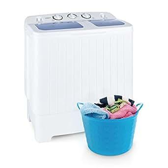 oneConcept Ecowash XL mini machine à laver (puissance de 300W au lavage et 110W a l'essorage, capacité 4,2kg, programme delicat, ideal studio et camping)