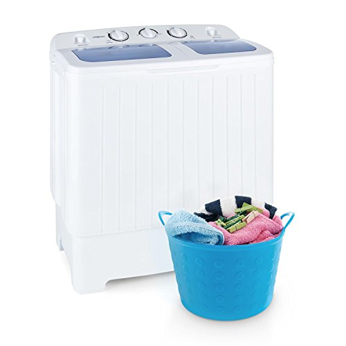 oneConcept Ecowash XL • Waschmaschine • Mini-Waschmaschine • mit Wäscheschleuder • 4,2 kg Waschkapazität • 300 Watt Waschleistung • 3 kg Schleuderkapazität • 110 Watt Schleuderleistung • 2 Programme • geräuscharm • wasser- und energiesparend • weiß (Kompakt Waschmaschine Trockner)