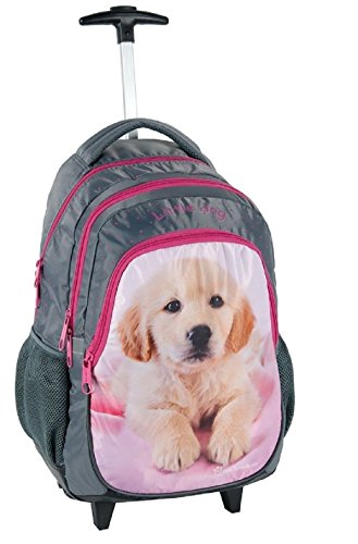 Rachaelhale cane rosa zaino trolley scuola, ragazza, bambina