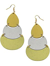 Anuradha Art Silver-Golden Colour Fancy Look This Handmade Party Wear Wooden Long Earrings For Women/Girls