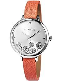 Trend de Wares de mujer reloj de pulsera plata oscuro de color rosa brillantes analógico de cuarzo metal piel mujer reloj