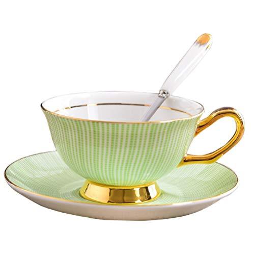 HYDWX European Bone China Cup Hochwertige Blume Teetasse Keramik Kaffeetasse Dish Green Gold Rim