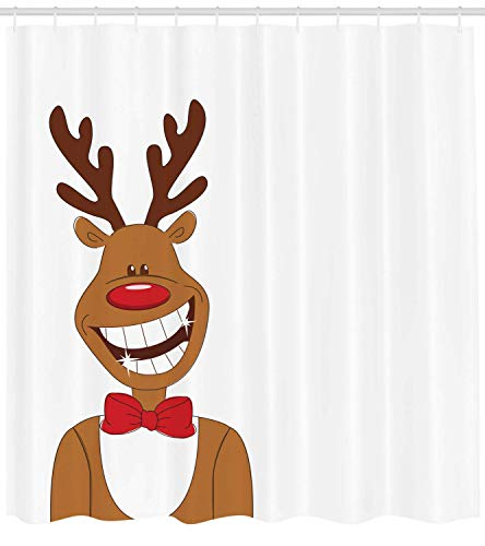 tgyew Christmas Shower Curtain, Smiling Funny Cool Reindeer with Bow Tie Doodle Grin Image, Cloth Fabric Bathroom Decor Set with Hooks, 66x72 inches, Ginger Vermilion Chocolate White 66 Chocolate Mold