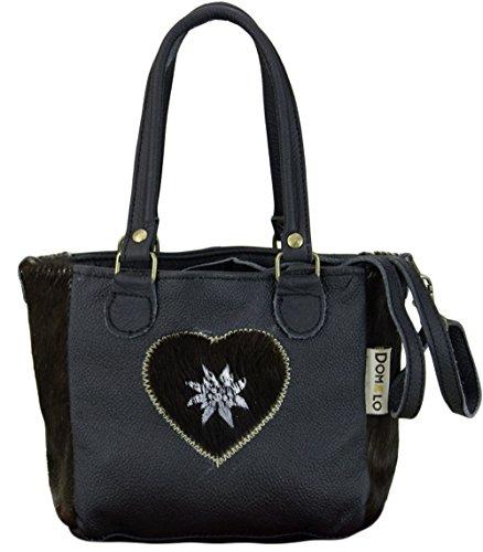 Domelo Tracht Damen Trachtentasche Dirndltasche Vintage Tasche Umhängetasche Schultertasche Shopper aus Leder Kuhfell (Leder Schwarz Kuhfell)