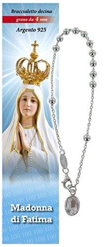 Pulsera Rosario Virgen de Fátima de plata con 11 cuentas de 4 mm