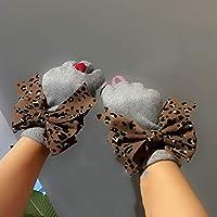 WWF Y el Arco de Leopardo Más Puntos Cálidos de Amor Se Refiere a Los Guantes Rojos de Lana de Imitación de Dos Pisos,Gris,Todo el código