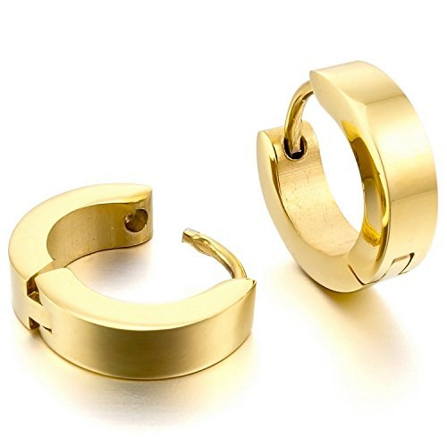 mendino Herren Gold Schmuck 316L Edelstahl Ohrstecker Creolen Charme Elegant
