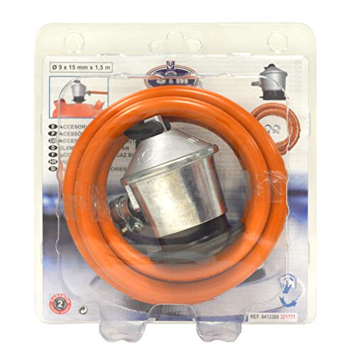 S&M 321771 Regulador de Gas Butano Goma M + 2 Abraz,  Gris/Naranja,  1, 5 Metros de Tubo
