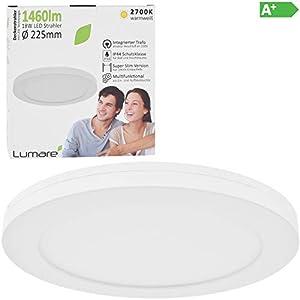 Lumare LED Deckenleuchte 18W Extra Flach rund 1460lm 225mm ersetzt 120W IP44 Deckenlampe für Wohnzimmer Badezimmer Küche Flur Keller Bad Wandleuchte Einbaustrahler modern warmweiß