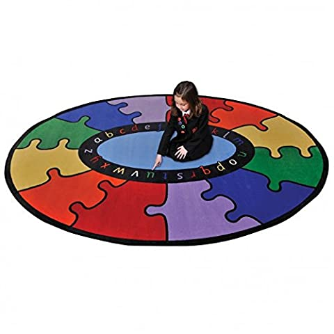 Childrens Abc Oval Rainbow Puzzle Learning Rug