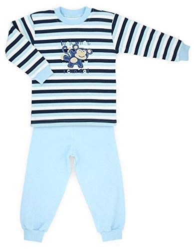 Makoma Baby giovani Pyjama pigiama 2pezzi in maglietta a maniche lunghe e pantaloni (80-104) Blue Monkey 24 mesi