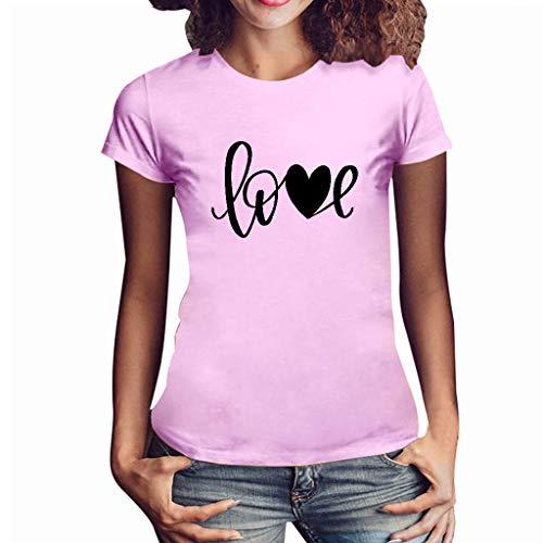 Haughtily Damen Love Brief gedruckt Kurzarm Sweatshirt Mode lässig Crewneck lose Pullover T-Shirt - Gedruckt Dolman Sleeve