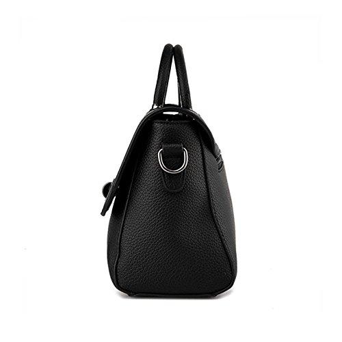 HeHe Damen PU Leder Handtaschen Damen Henkeltaschen Elegante Umhängetasche für Damen weibliche Schultertasche Schwarz