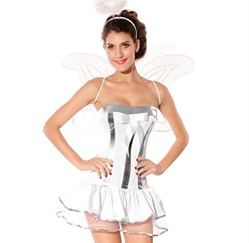 Travelday Frauen Cosplay Engel Partei-Halloween-Kostüm Weiß One Size (Für Engel-kostüm Frauen Weißer)