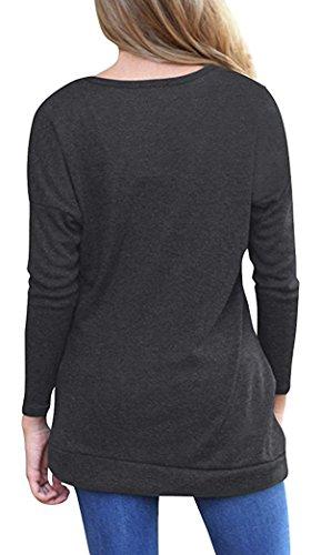 Yeesea Femme Top à Manche Longue Tunique T-shirt Casual Haut Chemisier Avec Boutons gris foncé