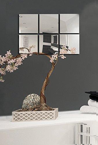 MSV Spiegel Spiegelfliesen Wandspiegel Fliesenspiegel Selbstklebend 6 Stück    10x10cm
