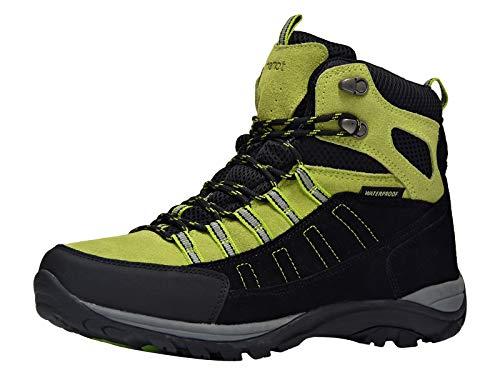 Riemot Scarpe da Trekking Donna Uomo Alte Scarponi da Montagna Impermeabili Leggero e Traspiranti Scarponcini da Escursionismo Passeggio Arrampicata Sportiva All'aperto Nero/Verde 43 EU