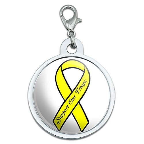 Unterstützen Unsere Truppen Band–Gelb auf Weiß Groß verchromtem Metall Pet Dog Cat ID Tag (Truppen Dog Tag)
