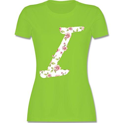Anfangsbuchstaben I Rosen tailliertes Premium TShirt mit Rundhalsausschnitt  für Damen Hellgrün