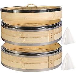 Hcooker 2 Capas Vaporizador de Bambú para Cocina con Doble Bandas de Acero Inoxidable para Cocina Asiática Bollos Empanadillas Verduras Pescado Arroz