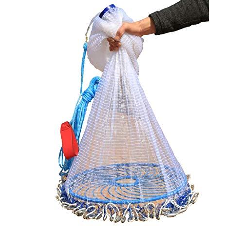ATR Big Frisbee Netting Werfen Net Half Finger Fischerei Mesh Fisch Draht 2,1 m Stahl Anhänger, 2,4 m Stahl Anhänger, (Größe: 3,6 m Stahl Anhänger) (Werfen Net Fische)
