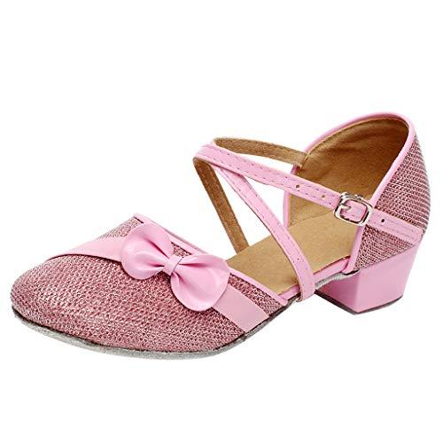Mädchen Kinder Tanzschuhe Standard Tango Latin Performance Ballroom Schuhe Closed Toe Buckle Knöchelriemen Lovely Dancing Sandals mit Low Chunky Heel