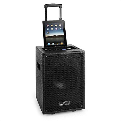 Malone Blackboxus Party Karaoke Lautsprecherbox DJ Box/PA-Komplettset mit Dock/Dockingstation kompatibel mit iPhone/iPad (USB-SD-Slot, AUX-IN, 2x Klinke Mikro-IN, Akku- und Netz-Betrieb) schwarz
