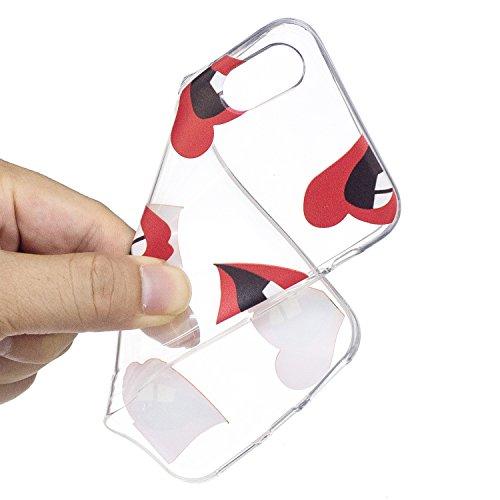 Für iPhone X,Sunrive Schutzhülle Etui Hülle transparent weich ultra slim TPU Silikon Rückschale Silicon Cover Tasche Case Bumper Abdeckung Handyhülle(tpu Blaue Feder)+Gratis Universal Eingabestift tpu Mund