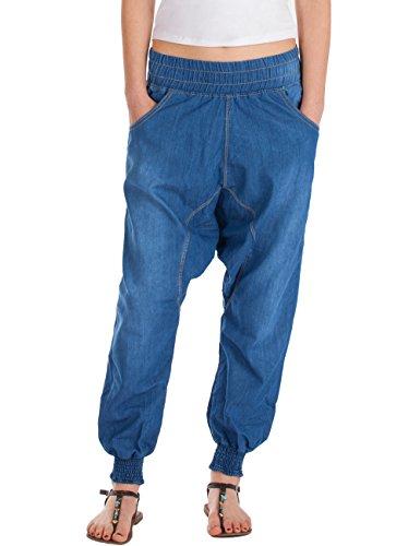 Fraternel Damen Jeans baggy relaxed loose Fit Pluderhose Haremshose Blau M/38 - W30