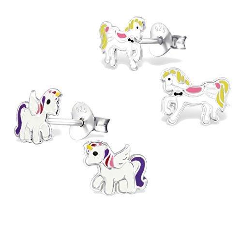 2-paar-kinder-ohrringe-925-silber-madchen-ohrstecker-einhorn-und-pferd-pony