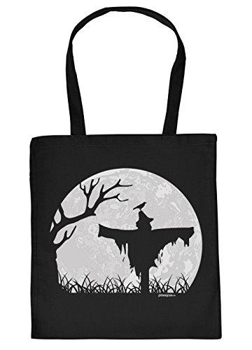 Halloween Tasche - coole Tragetasche für Süßigkeiten : Halloween Vogelscheuche -- Baumwolltasche Halloweenparty Vogelscheuche Mond -- Farbe: Schwarz (Halloween-vogelscheuchen)