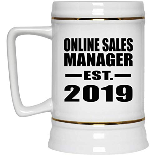 Online Sales Manager Established EST. 2019-22oz Beer Stein Bierkrug Keramik Bierhumpen Bar Becher Kneipenkrug - Geschenk zum Geburtstag Jahrestag Muttertag Vatertag Ostern Sale Vintage Milk Glass