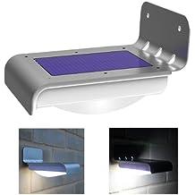 16 luces brillantes LED inalámbricas de sensor de movimiento alimentado por energía solar.