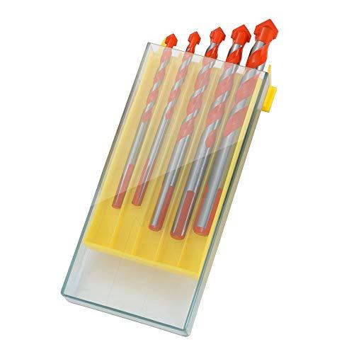 flintronic ® Punte Trapano, Set 5 Punte per Ceramica, Muro, Legno, Metallo in Scatola di Plastica (6; 6; 8; 10; 12mm)