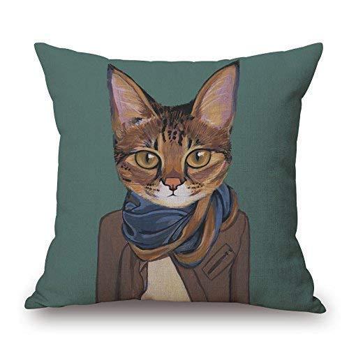 KJDFH Kissenbezug,Animal Print Cat Portrait Modern Art Cotton Decorative Throw Pillow Cover Home Decor Cute Cushion Cover Pillow Case Sofa Cover (for Living Room, Sofa, Etc) 18x18 Inch-Color 4 - Farbton Cotton Liner