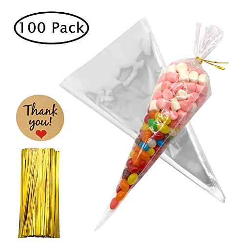 7ac504738 Bolsas de Cono Transparentes 100 piezas Bolsas de Celofán con lazos para  dulces galletas regalos fiestas cumpleaños 16×30 cm