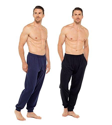 Komfort Loungewear (CComfort Soft-Touch-Cuff-Böden gemütliche Loungewear perfekte Abnutzung (L, schwarz und blau))