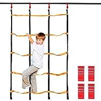 Odoland 50ft Slackline Ninja Line Monkey Bar Kit, Ninja Net, Ninja Wheel, Ninja Rope, Ninja Bars, Ninja Rings, Ninja Warrior Training Equipment for Kid and Child