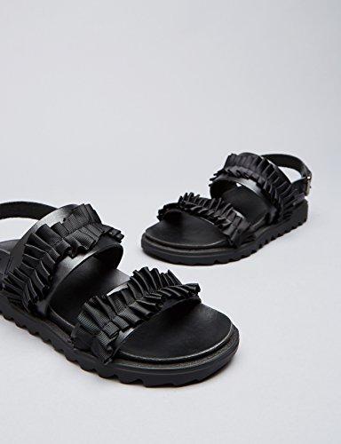 FIND Damen Sandalen mit Rüschen Schwarz (Black)
