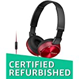 (Renewed) SONY MDR-ZX310AP Sound Monitoring Headphones red