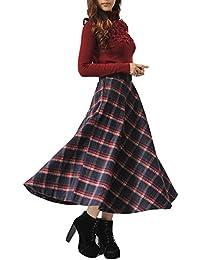 9c1023687984 BININBOX® Damen Retro hohe Taille A-Linie Rock Thicken karierten Rock  Faltenröcke Wollrock Tellerrock