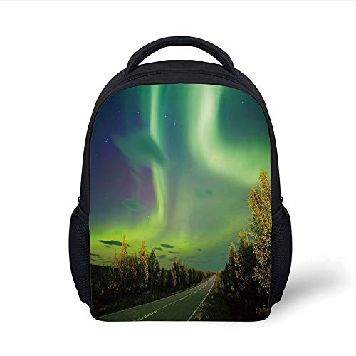 Kids School Backpack Northern Lights,Highway Road Nordic Rays Sky Surreal Sun Atmosphere Image,Blue Lime Fern Green Plain Bookbag Travel Daypack