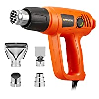 Corded Electric Heat Gun Including 4 Nozzles 2000 Watts Hot Air Gun Temperature and 2 Modes Adjustable for Tube Bending, Soldering, Shrink Wrapping, Paint Stripping, with Heat Protection VPHG1012