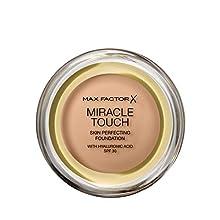 Max Factor Miracle Touch Foundation in der Farbe 60 Sand – Intensives, pudriges Make-up für ein makelloses Hautbild – Mit Lichtschutzfaktor 30